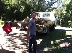 Ok, logs on truck, a friend's shirt and stick hanging off the 'probably slightly illegal log overhang...' ready to go up-hill to Maleny.