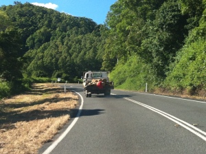 Literally UP THE HILL the logs go... Maleny bound.