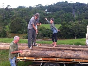 Annabelle is excited, any opportunity to dance! David and Pete unload.